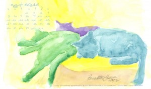 desktop calendar watercolor cats