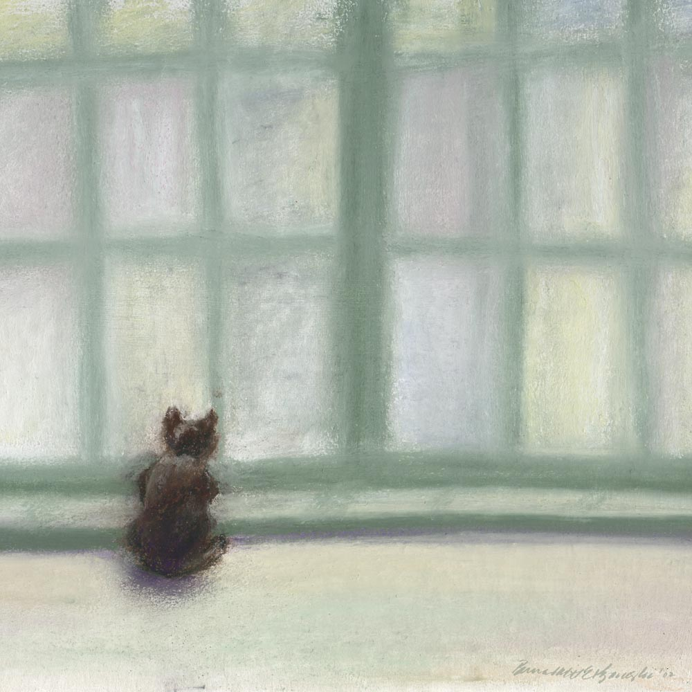 pastel painting of cat looking out window