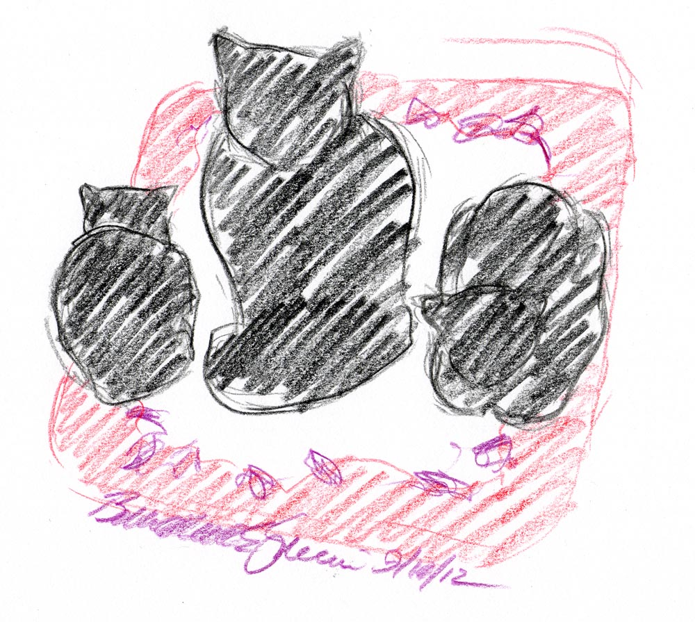 sketch of three black cats on rug