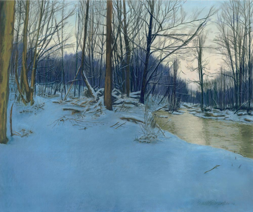 pastel painting of snowy woods