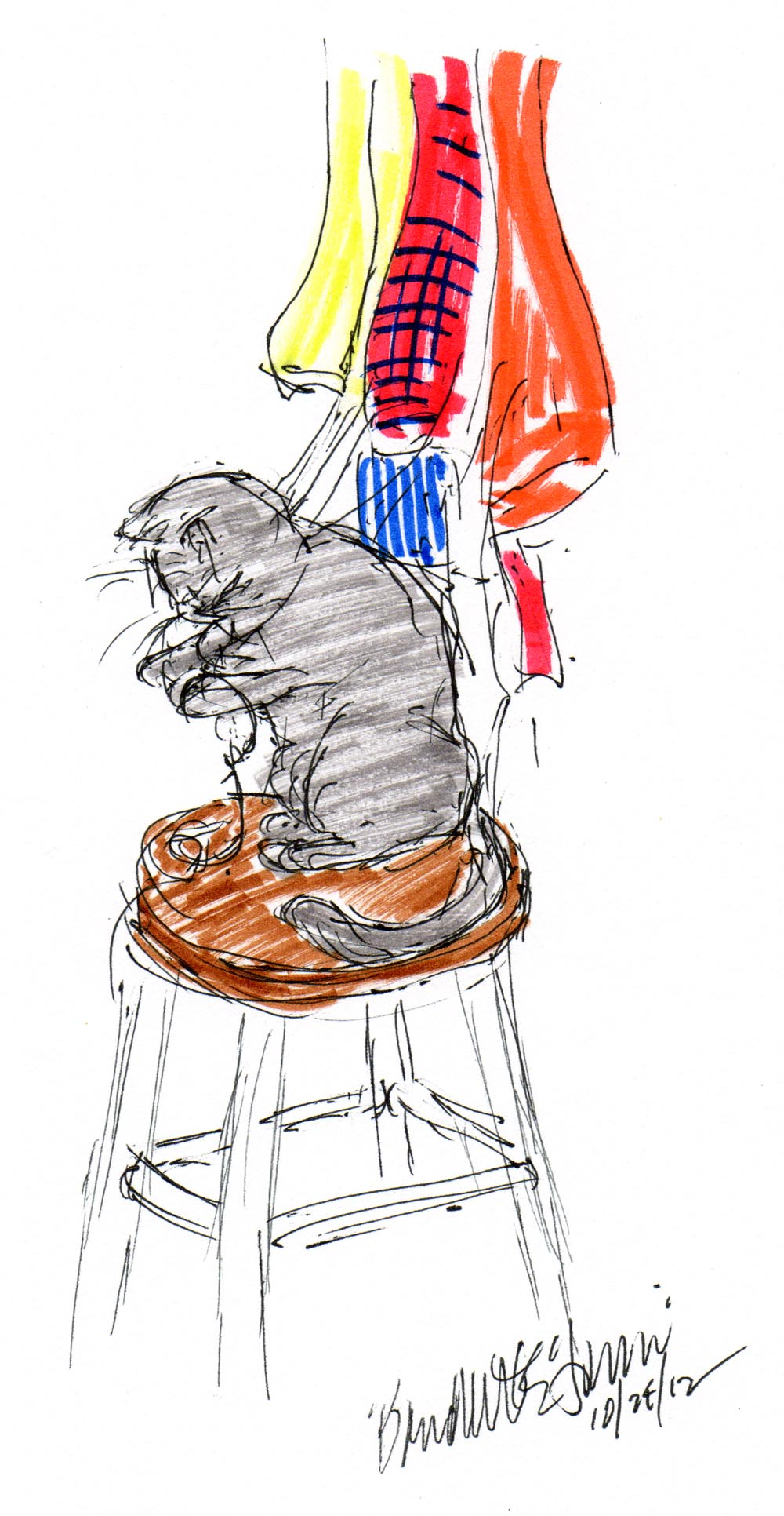 ink and marker sketch of cat with apron strings