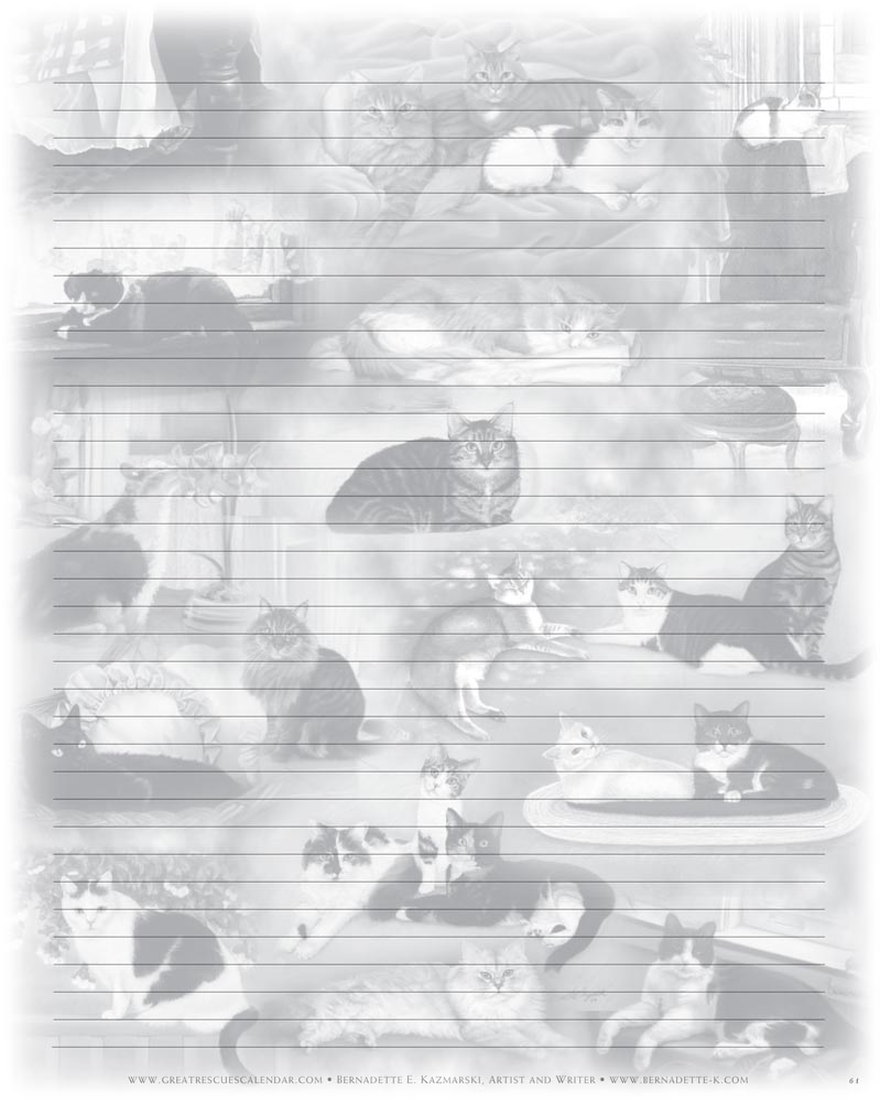 black and white notebook paper featuring a collage of cats