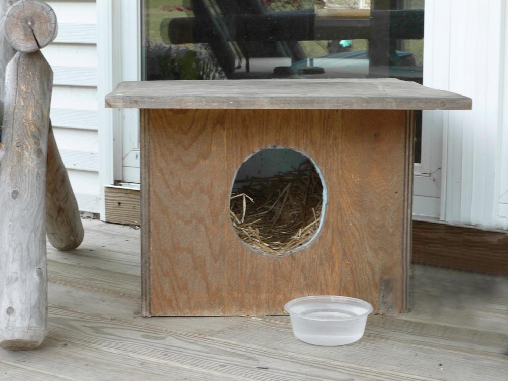 straw filled outdoor cat shelter