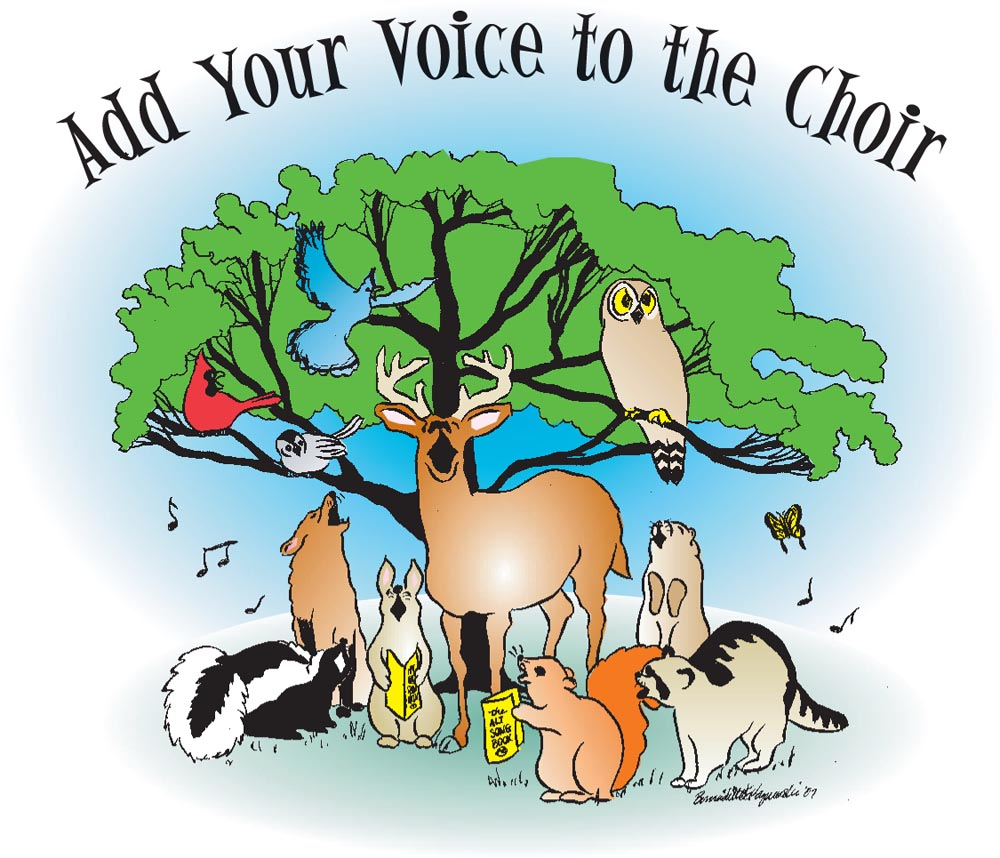color illustration of animals singing