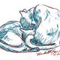 pastel sketch of cats