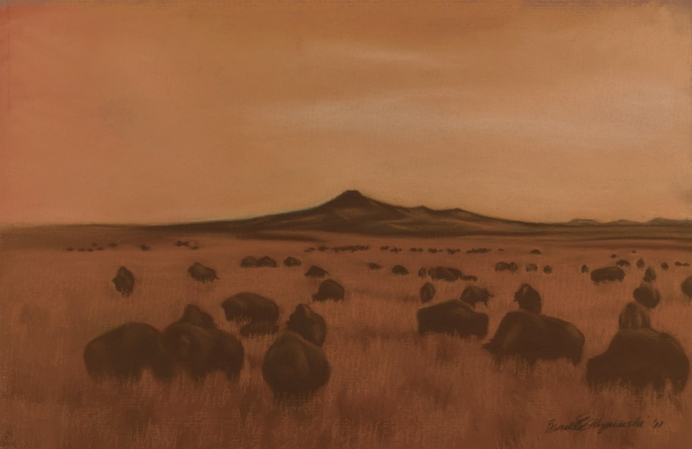 pastel painting of bison at twilight