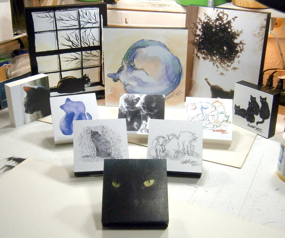 photo of art mounted on wood blocks
