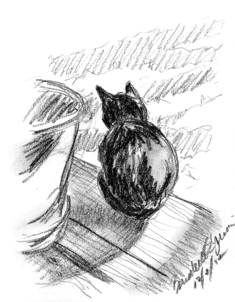 charcoal sketch of black cat on step