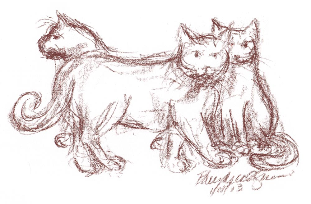 sketch of three cats