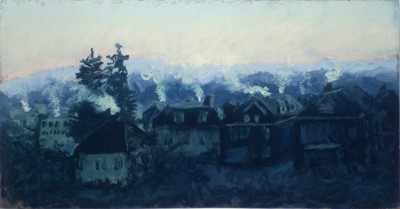 pastel painting of frosty winter sunrise over houses