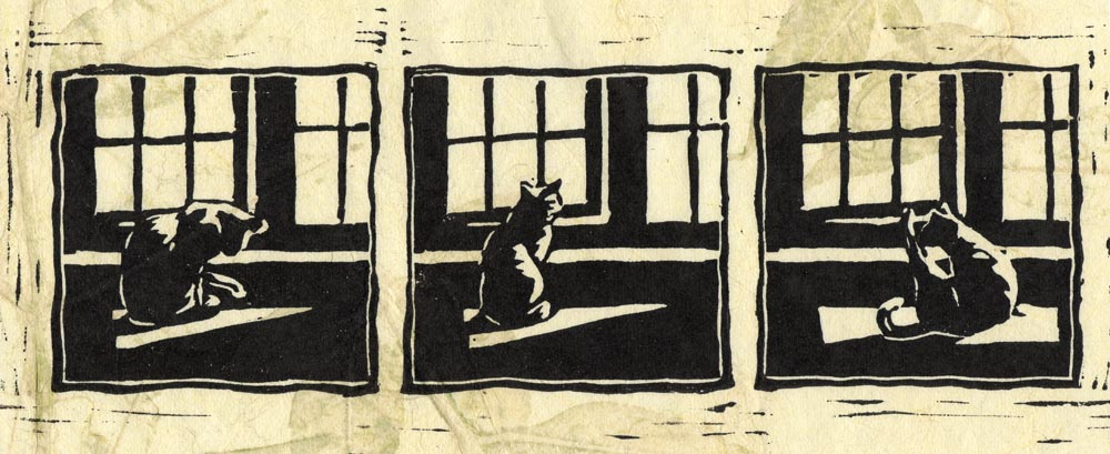 block print of cat at window