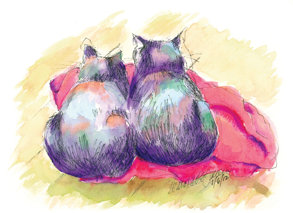 ink and watercolor sketch of two cats