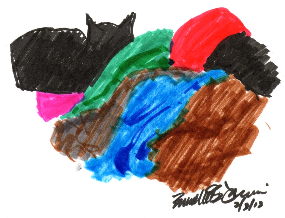 marker sketch of cat with pile of laundry