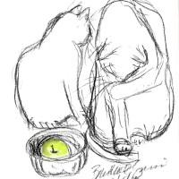 charcoal sketch of two cats with green apple in bowl
