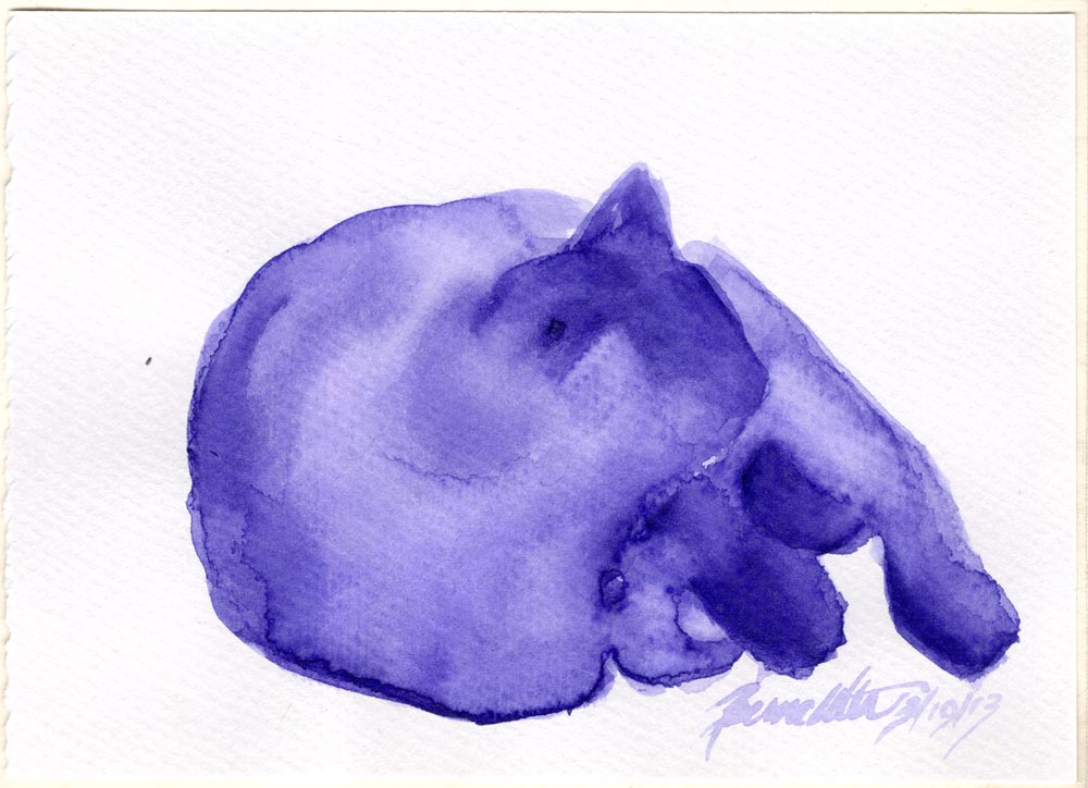purple watercolor of cat sleeping