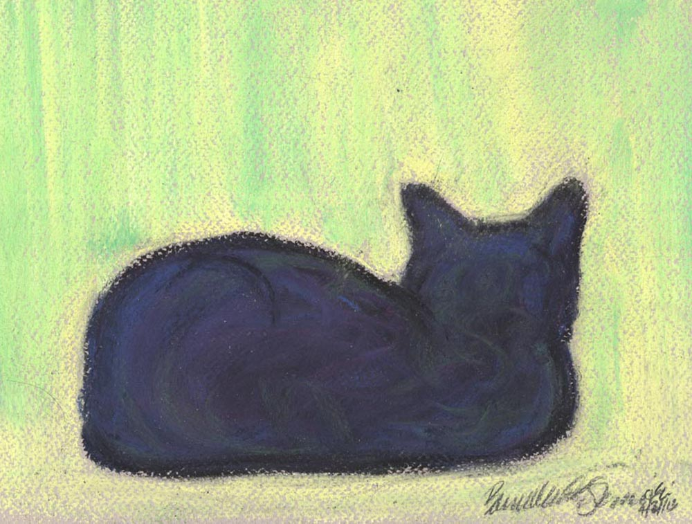 pastel sketch of cat on windowsill
