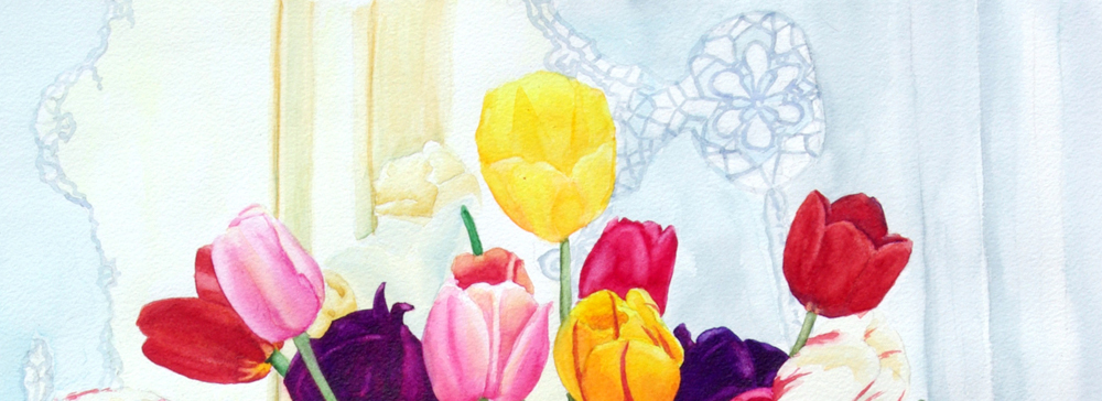 detail of painting of tulips and dog