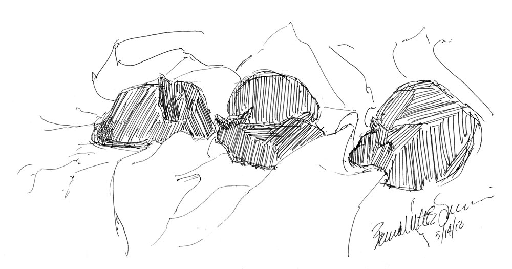 ink sketch of four cats on bed