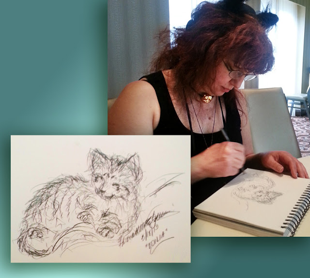 person sketching and pencil sketch of cat.