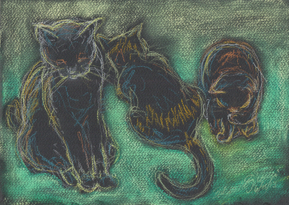 pastel sektch of three cats