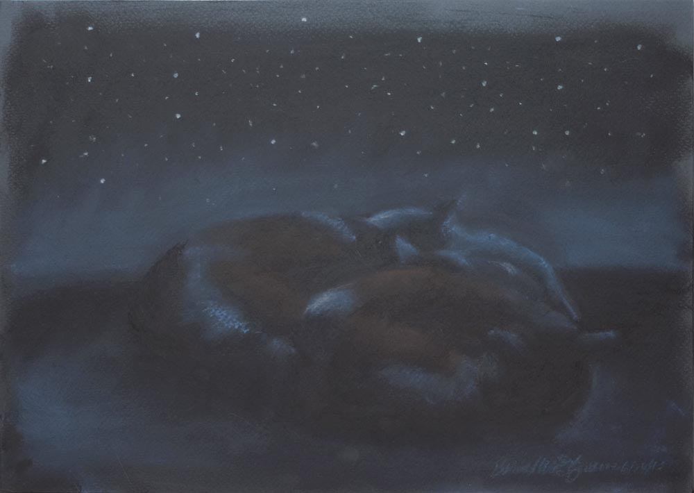 pastel sketch of three cats sleeping