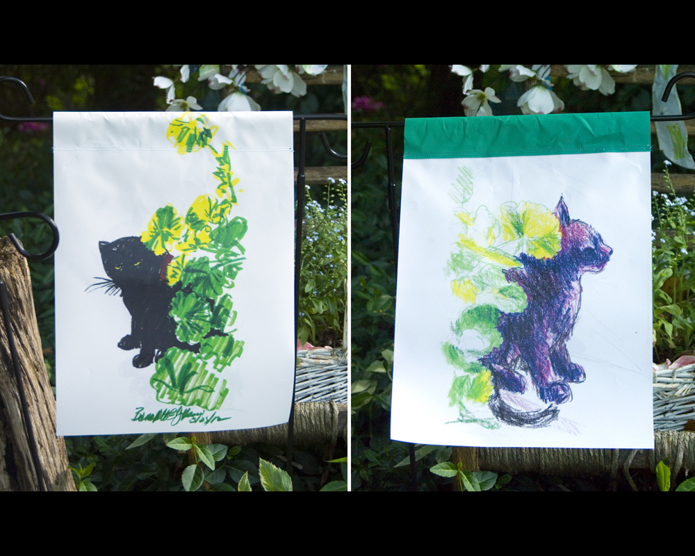 cat garden flags