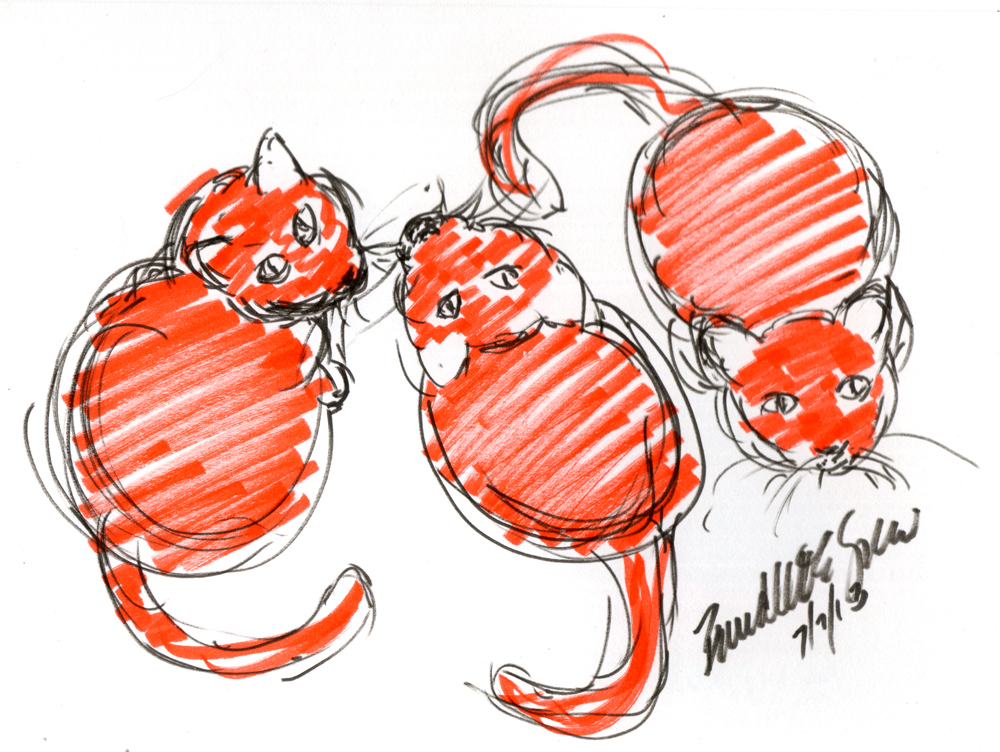 """Three Orange Cats Waiting for Dinner"" (accurate color), brush markers, 8.5"" x 7"" © Bernadette E. Kazmarski"