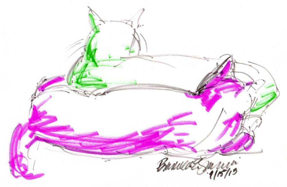 brush marker sketch of two cats