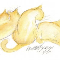 watercolor and pencil sketch of four cats bathing.