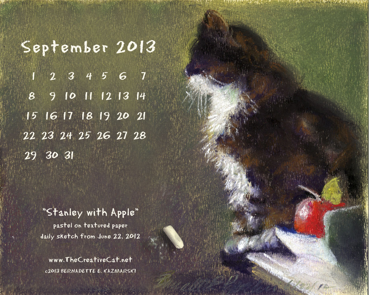 pastel sketch of cat with chalk