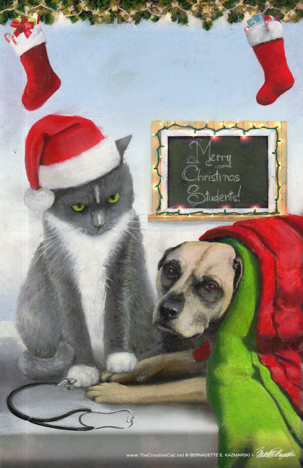 """The sketch for """"A Christmas to Purr About""""."""