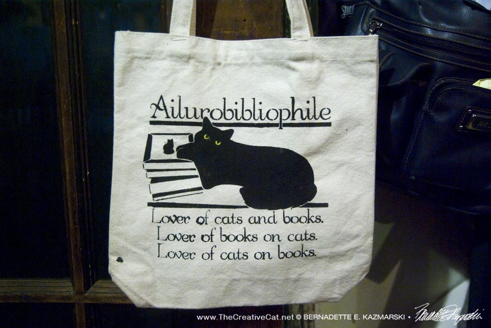 Ailurobibliophile on a tote bag.