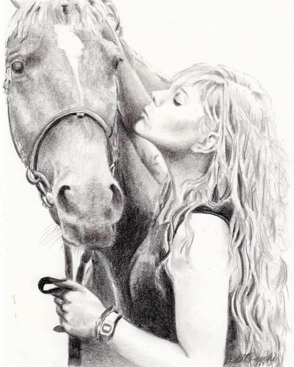 Hania and Gracje, pencil, 8 x 10 © Bernadette E. Kazmarski