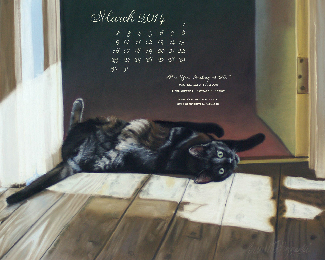 """Are You Looking At Me"" Desktop Calendar for March 2014."