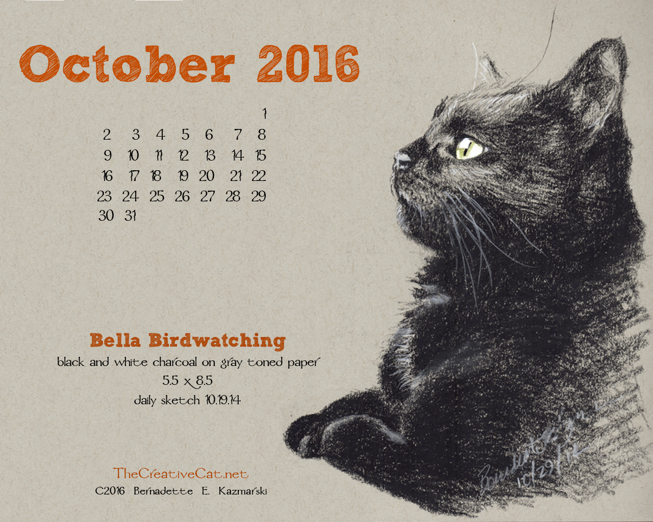"""Bella Birdwatching"" desktop calendar, 1280 x 1024 for square and laptop monitors."