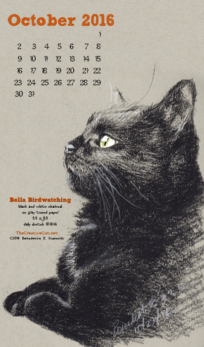 """Bella Birdwatching"" desktop calendar, for 400 x 712 for mobile phones."