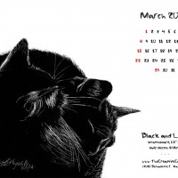 """""""Black and Light"""" desktop calendar, 1280 x 1024 for square and laptop monitors"""