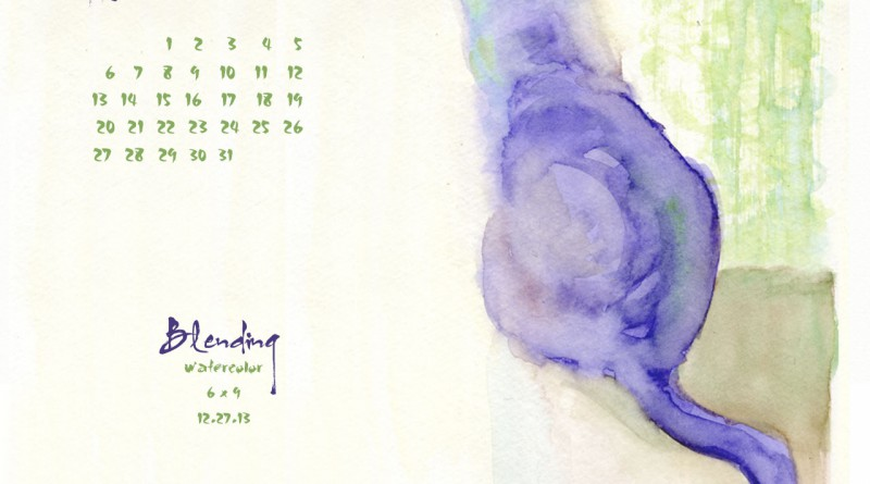 """Blending"" desktop calendar, 1280 x 1024 for square and laptop monitors."
