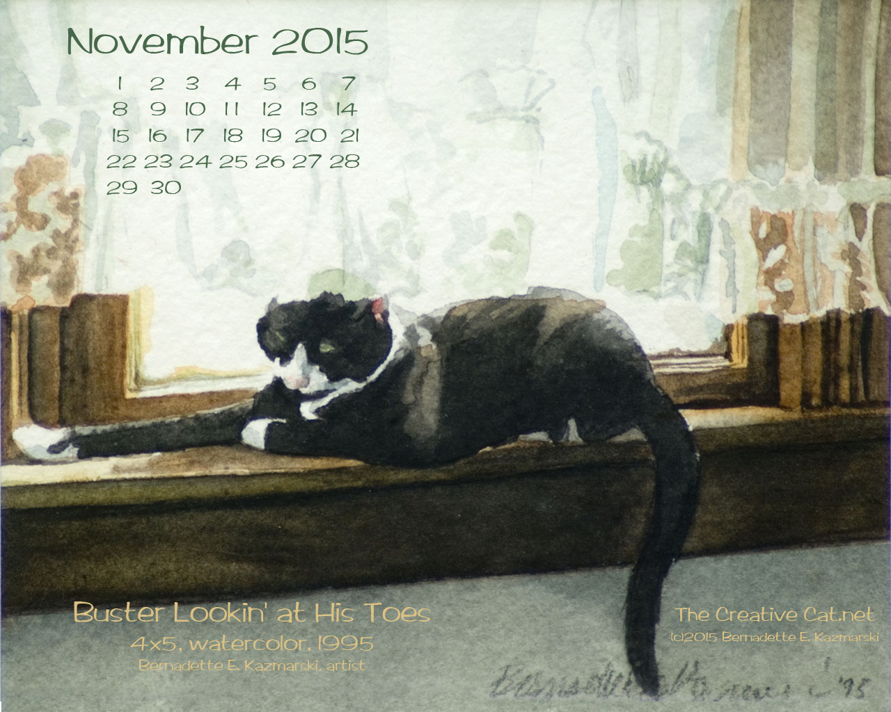 """Buster Lookin' at His Toes"" desktop calendar, 1280 x 1024 for square and laptop monitors."