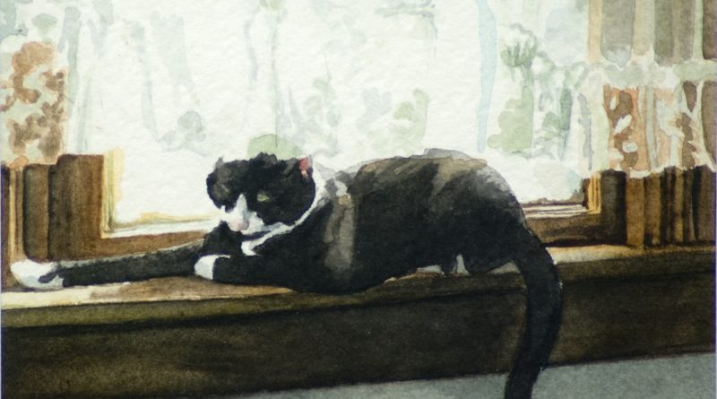 """Buster Lookin' at His Toes"", watercolor, 4"" x 5"", 1995 © Bernadette E. Kazmarski"