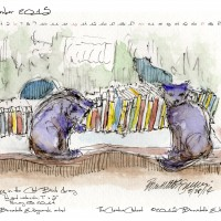 """""""Evening in the Cat Book Library"""" desktop calendar, 1280 x 1024 for square and laptop monitors."""