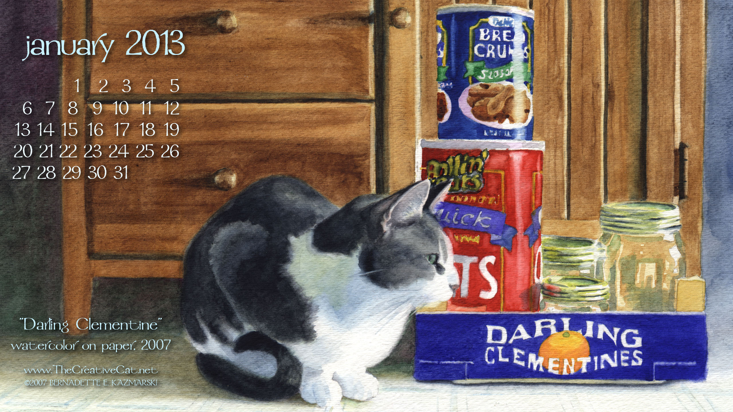 """Darling Clementine"" desktop calendar 2560 x 1440 for HD and wide screens."