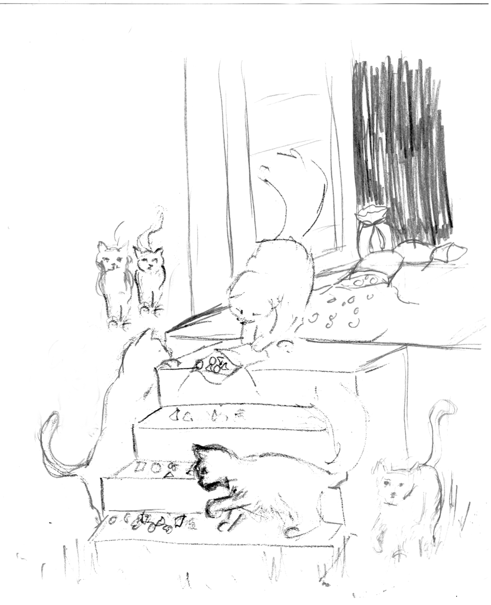pencil sketch of cats on steps for illustration