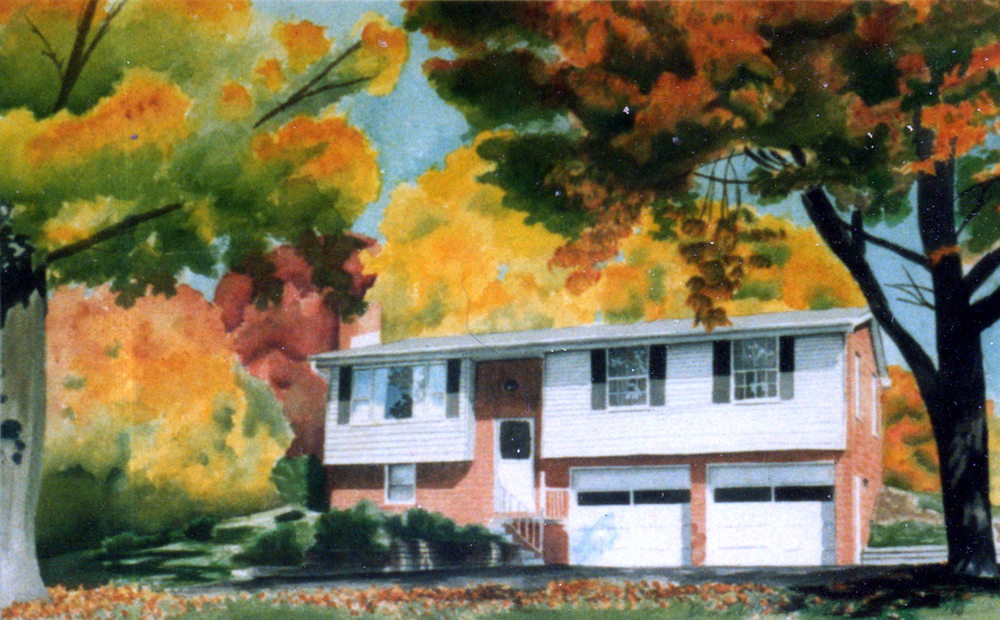 "House portrait, 1994, watercolor, 12"" x 16"" © Bernadette E. Kazmarski"