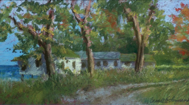 """Deserted Cottages"", 17″ x 8.5″, pastels on Hahnemuhle sanded watercolor paper, 1998 © Bernadette E. Kazmarski"