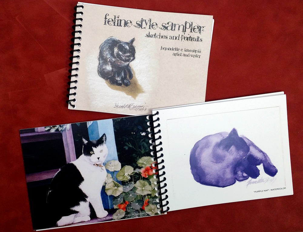 """Feline Style Sampler"" book of sketches and portraits."