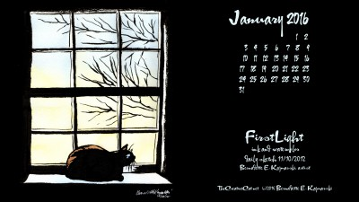 """First Light"" desktop calendar 2560 x 1440 for HD and wide screens."