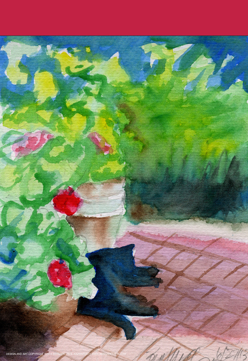 """Garden Sketch With Mimi"" Garden Flag"
