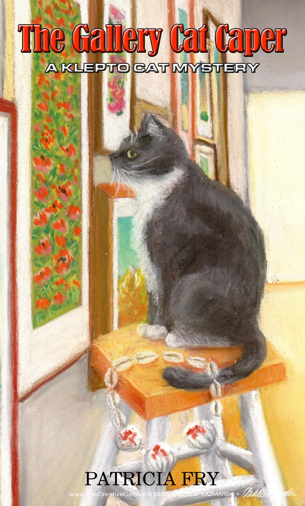 book cover cat on stool looking at art
