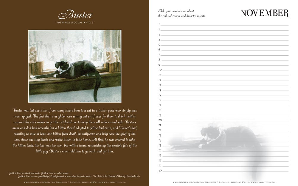 "Buster's page in ""Great Rescues Day Book"""